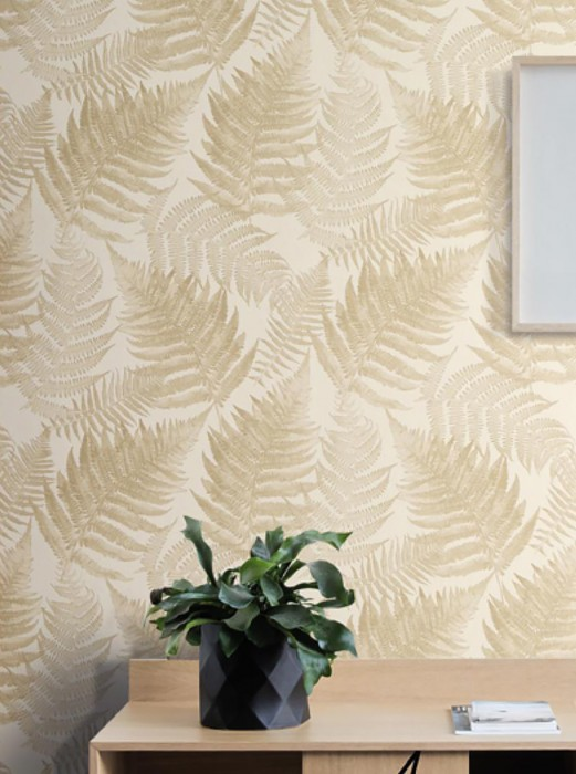 Wallpaper Franka Matt Fern leaves Cream Beige