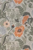 Papel pintado Soria Mate Flores zarcillos Blanco grisáceo Gris claro  Gris musgo claro Gris sílex Verde oliva Marrón anaranjado