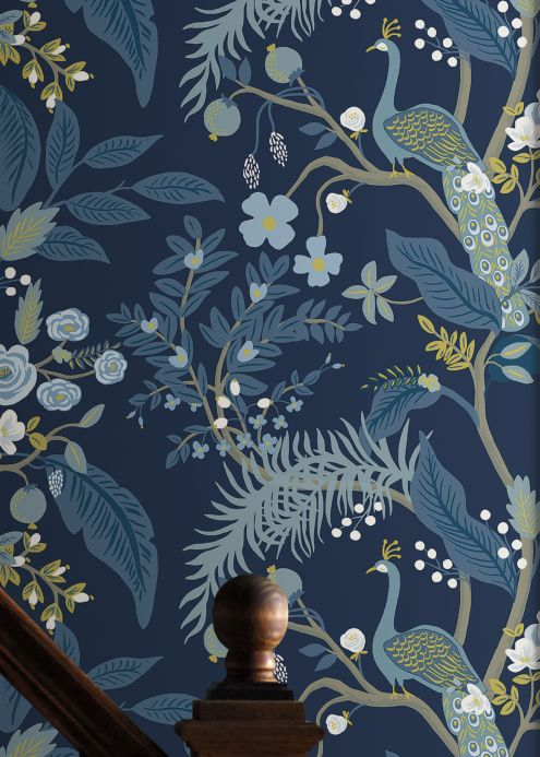 Papel pintado floral Papel pintado Peacock Tree azul acero Ver habitación