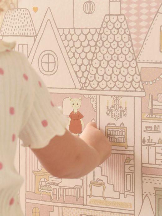 Papel de parede divertido Papel de parede Dollhouse rosa pálido Ver ambiente