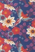Papier peint Cecile Mat Fleurs Pérroquets Bleu Gris bleu Blanc crème Orange Rouge