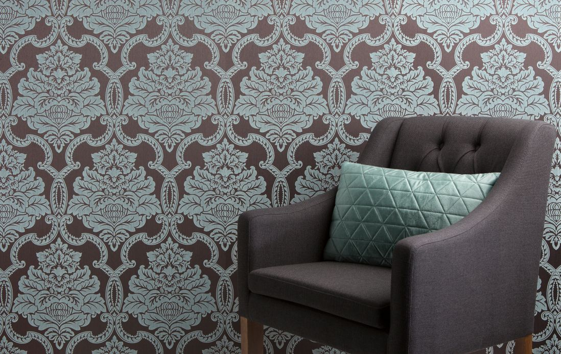 Textile wallpaper Wallpaper Amalia pale green Room View