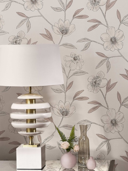 Wallpaper Cassata Matt Flower tendrils Grey white Cream Rosewood White-grey shimmer