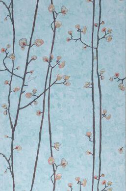 Papier peint VanGogh Branches turquoise pastel clair Largeur de lé