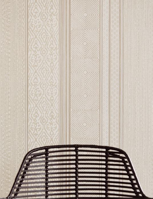 Wallpaper Cemal Matt pattern Shimmering base surface African style Stripes Cream Beige grey shimmer Grey white