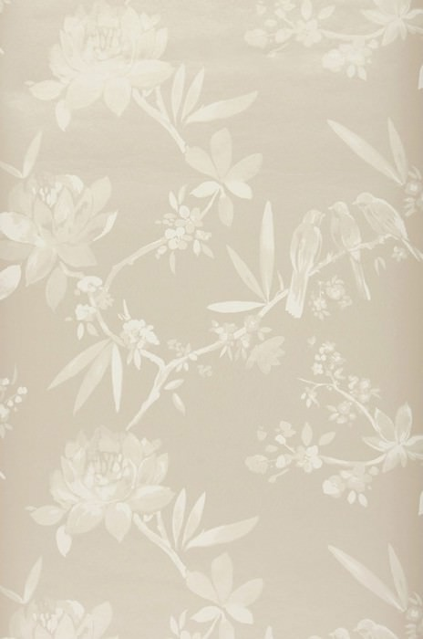 Wallpaper Nekami Matt pattern Shimmering base surface Leaves Blossoms Birds Branches Light grey beige Pale grey beige Cream