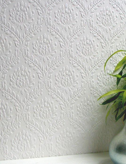 Papier peint de Anaglypta Papier peint Dryden blanc Vue pièce