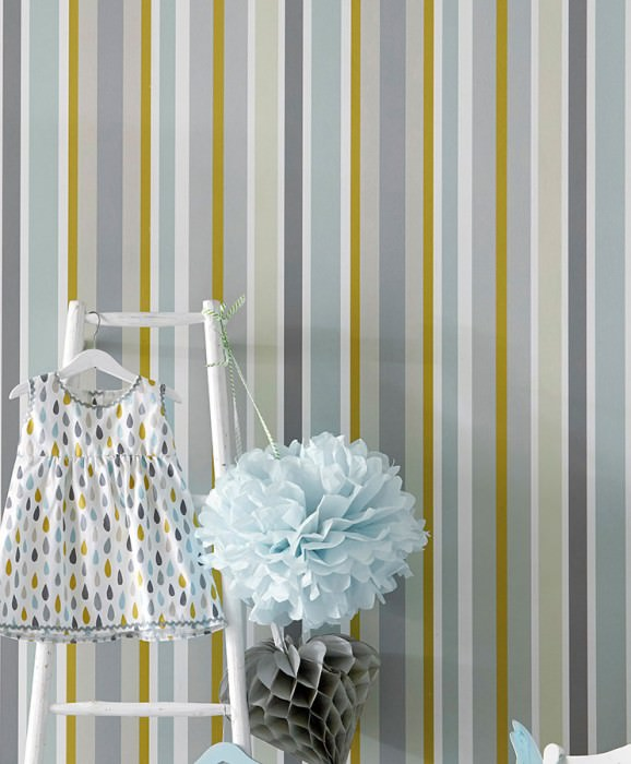 Wallpaper Jama Matt Stripes Grey Grey brown Light grey beige Pastel turquoise