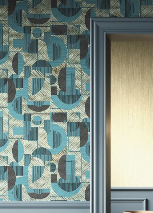 Geometric Wallpaper Wallpaper Paseo turquoise blue shimmer Room View