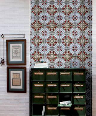 Tapete Art Decó Rotorange Raumansicht