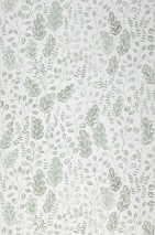 Wallpaper Rosina Matt Leaves White Green