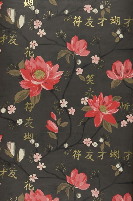 Wallpaper Miuba Matt Leaves Blossoms Characters Branches Grey brown Antique pink Beige brown Cream Gold shimmer Orient red Black