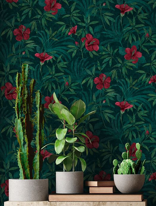 Floral Wallpaper Wallpaper Tara black green Room View