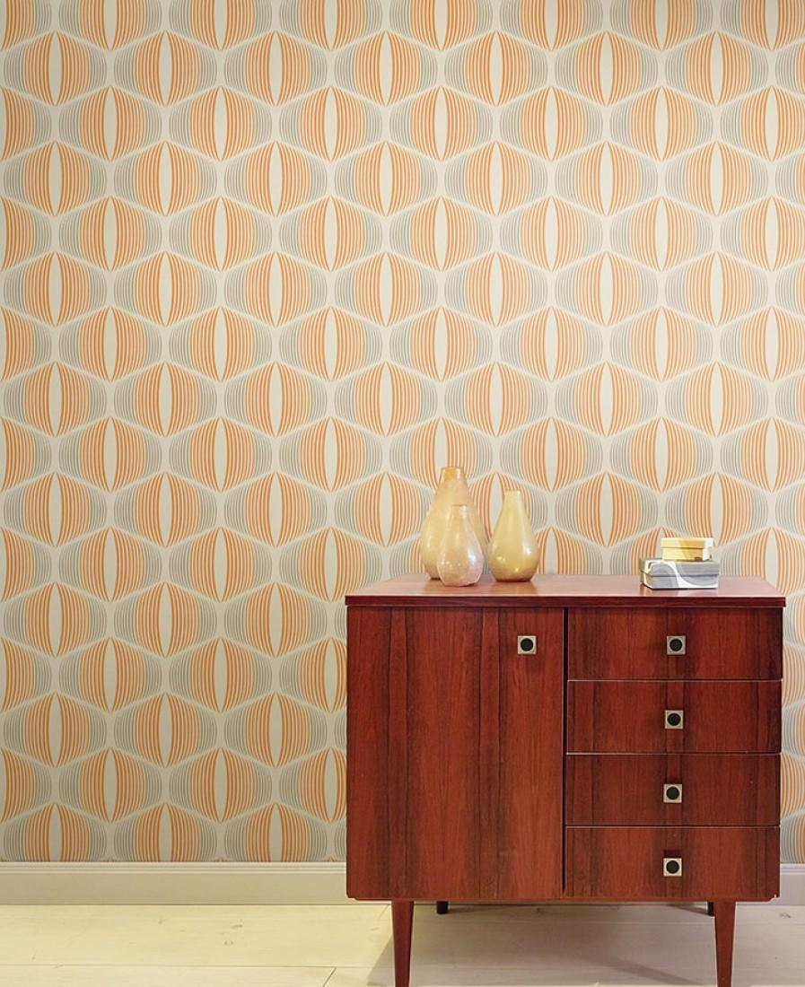 Morena blanc cr me beige gris orange papier peint - Papiers peints des annees 70 ...