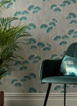 Wallpaper Tambika Hand printed look Matt pattern Shimmering base surface Leaves Blossoms Gold shimmer Blue Green Cream Grey Mint turquoise