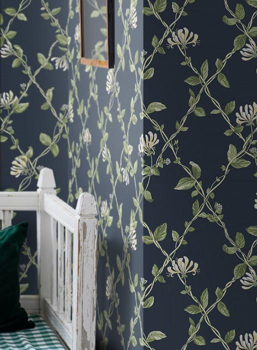 Papier peint Midori Mat Vrilles de fleur Grille Bleu gris Blanc crème Tons de vert Jaune clair