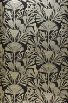 Wallpaper Tiberia Shimmering pattern Matt base surface Stylised blossoms Black Cream Pearl beige