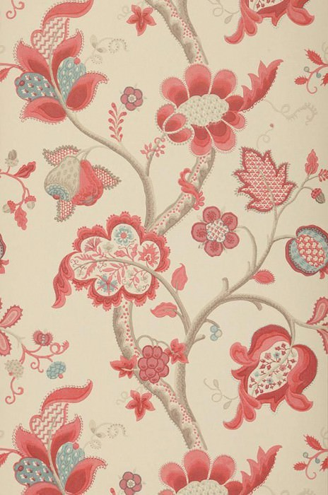 Wallpaper Themis Matt Branches with leaves and blossoms Light ivory Pale red Grey brown Light blue grey