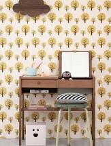 Papel de parede Dotty Mate Árvores Branco creme Marrom escuro Amarelo ouro