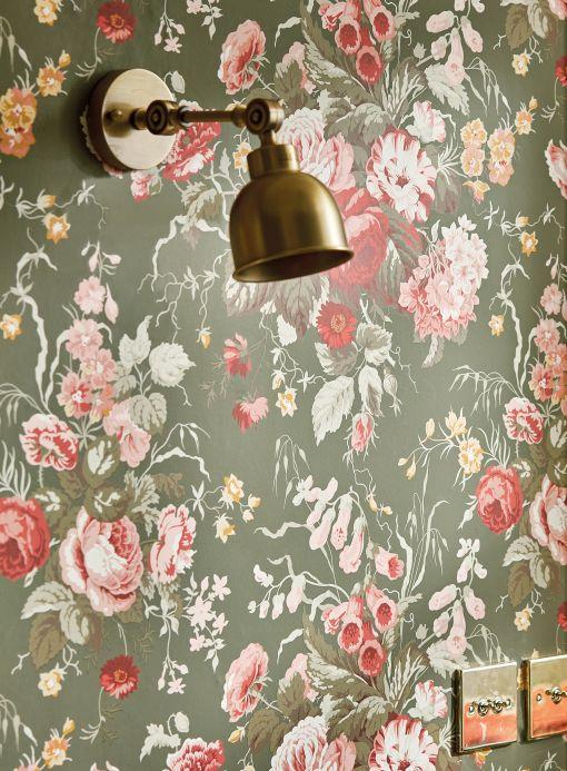 Papel de parede floral Papel de parede Sansa verde oliva Ver ambiente
