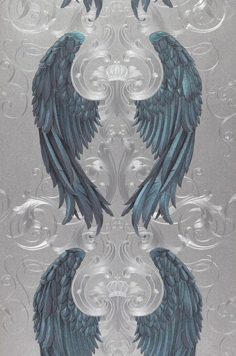 Wallpaper Morrigan Metallic effect Angel's wings Crowns Silver Dark blue Black grey Turquoise blue