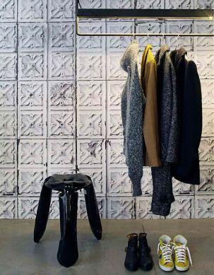 Papel pintado Brooklyn Tins 04 gris claro Ver habitación