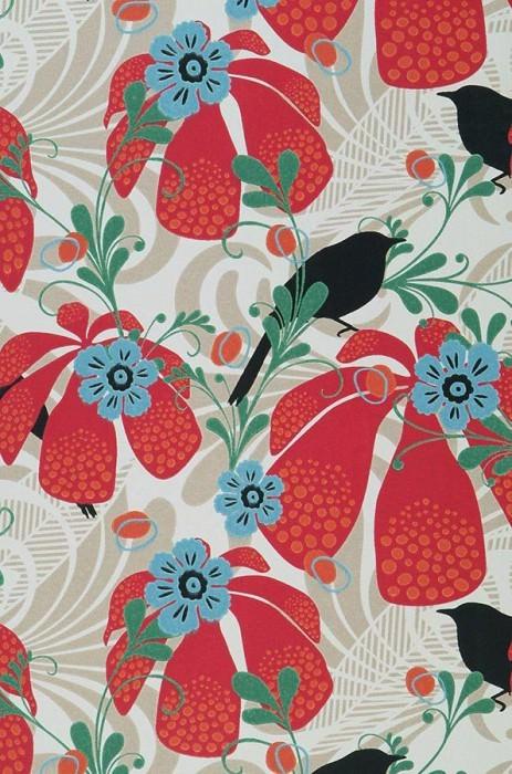 Papier peint Katimba Aspect impression à la main Mat Fleurs Oiseaux Blanc crème Rouge fraise Vert Beige clair Bleu clair Noir