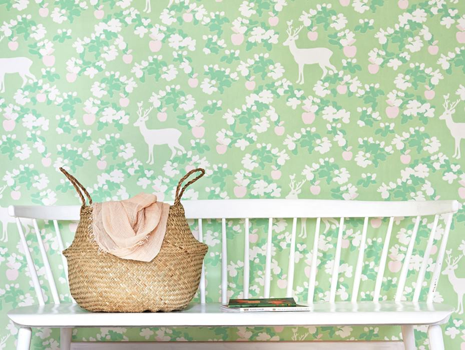 Wallpaper Apple Garden Hand printed look Matt apples Leaves Blossoms Deer   Fern green Pale pink Cream Mint green