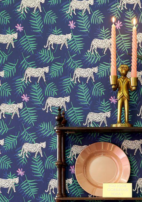 Papier peint avec des animaux Papier peint Kabbo bleu saphir Vue pièce