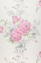 Wallpaper Lorietta Shimmering Flowers Cream Strawberry red Fern green Grey Grey beige