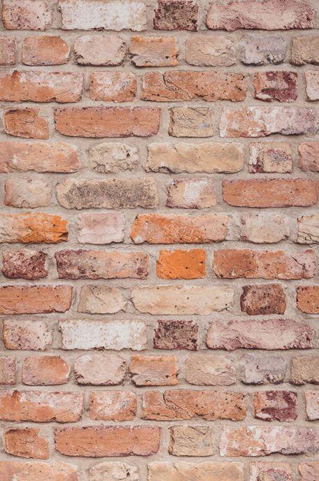 Papier peint pierre Papier peint Castor brun orange Largeur de lé