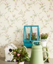 Papel pintado Thelma Efecto impreso a mano Mate Pájaros Ramas con hojas y flores Blanco crema Beige Verde azulado Violeta burdeos Verde helecho