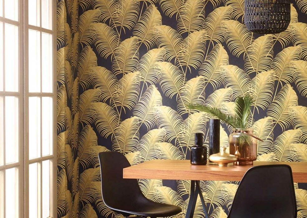Wallpaper Milva Matt Palm fronds Black Sand yellow