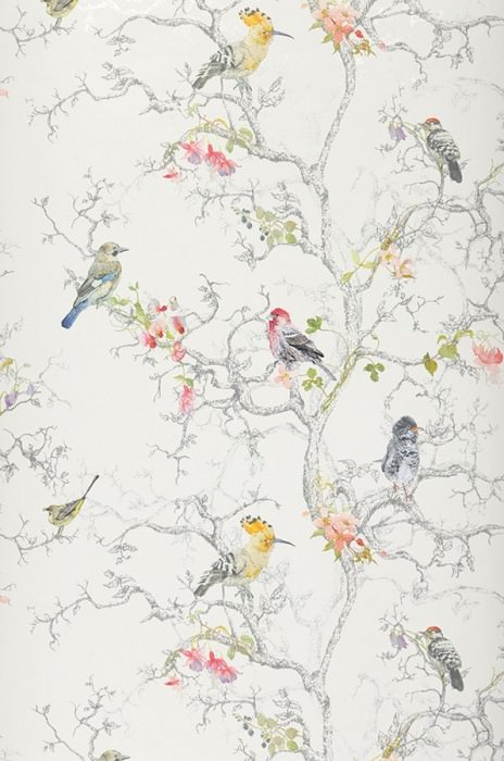Wallpaper Ziberno Matt Leaves Blossoms Birds Branches Cream Blue Dark grey Yellow green Orange yellow Rose Red Silver shimmer