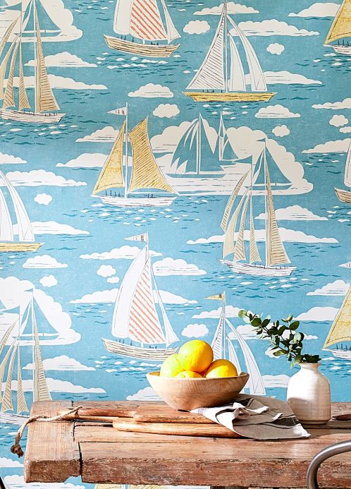 Vintage Wallpaper Wallpaper Geronimo turquoise blue Room View