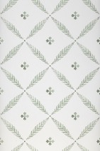Wallpaper Adele Matt Leaf ornaments Grey white Shades of green