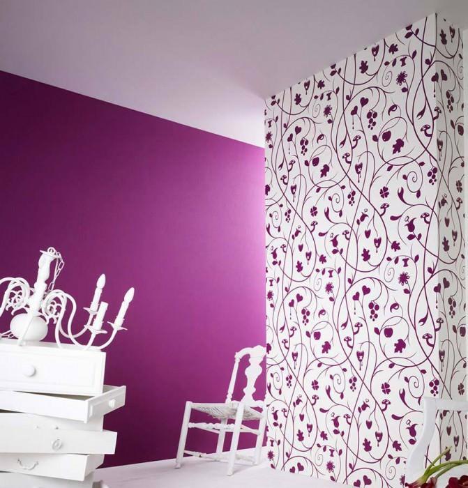 Papier peint Antiope Mat Vrilles avec fruit Blanc Violet