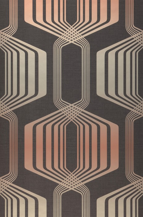 Wallpaper Rumba Shimmering pattern Matt base surface Retro elements Grey brown Pearl beige Rosewood shimmer