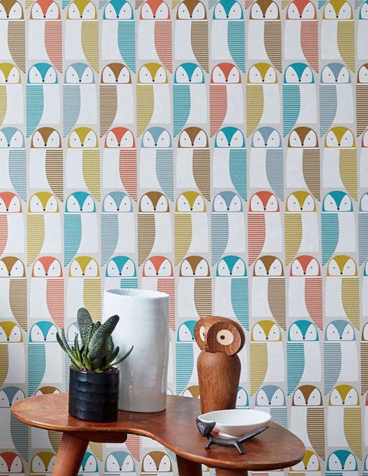 Animal Wallpaper Wallpaper Eledra turquoise blue Room View