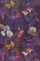 Papel de parede Zoe Mate Folhas Flores Violeta carmesim Amarelo mel Magenta Tons de violeta Branco