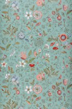 Wallpaper Carline Matt Leaves Blossoms Butterflies Birds Light mint turquoise Beige red Blue Khaki Red White
