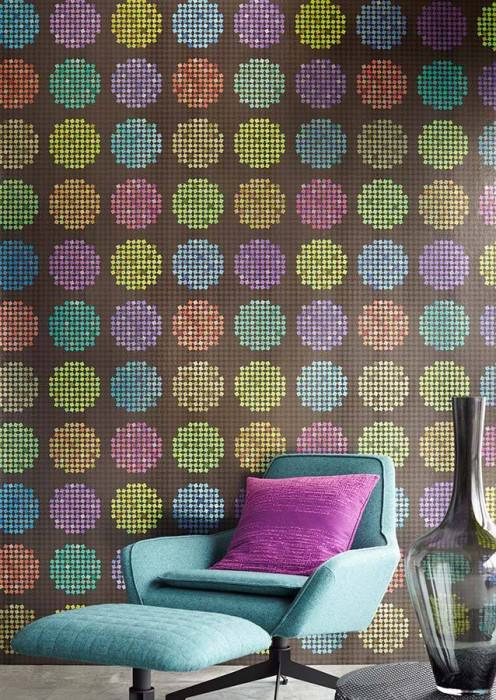 Wallpaper Alekto Shiny pattern Shimmering base surface Small squares  Circles Dark brown Black Yellow green Orange Turquoise Violet