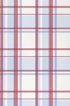 Wallpaper Mika Matt Plaid Cream Claret coloured Light blue