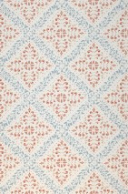 Wallpaper Rosalie Matt Floral damask Rhombus ornaments Cream Beige red Pastel blue Ruby red