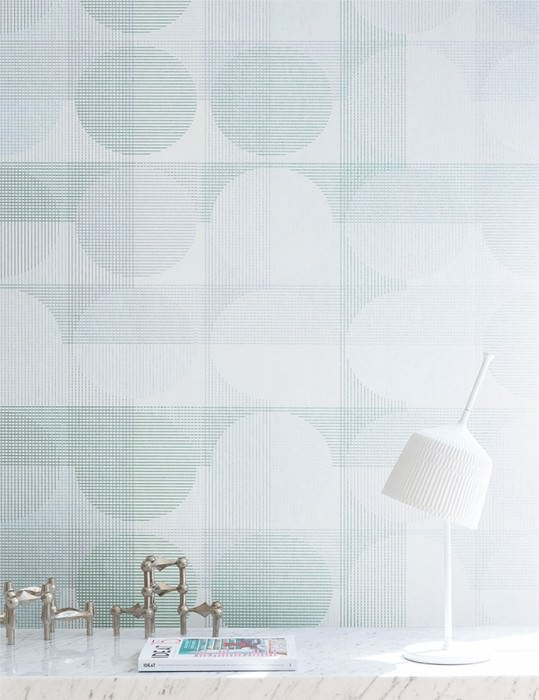 Wallpaper Henrio Shimmering pattern Matt base surface Graphic elements Dots Cream Pearl green Silver Silver grey