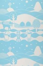 Wallpaper Himmelhav Hand printed look Matt Trees Owls Sky Hounds Landscape Sky blue White