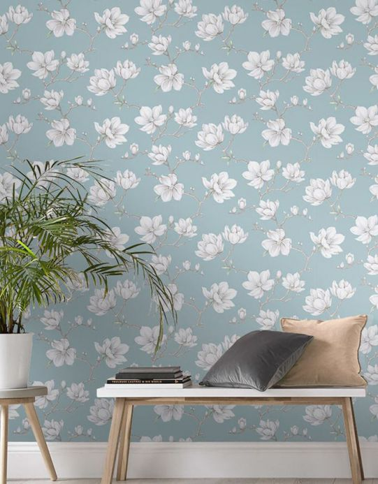 Floral Wallpaper Wallpaper Magnolia mint grey Room View