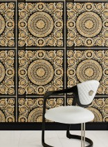 Wallpaper Clara Shimmering pattern Matt base surface Floral damask Black Cream Cream Pearl gold