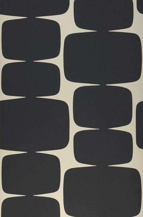 Wallpaper Waris Matt Graphic elements Pebble grey Black