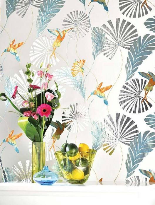 Wallpaper Colibri Shiny pattern Matt base surface Leaves Hummingbirds White Orange lustre Silver Turquoise lustre